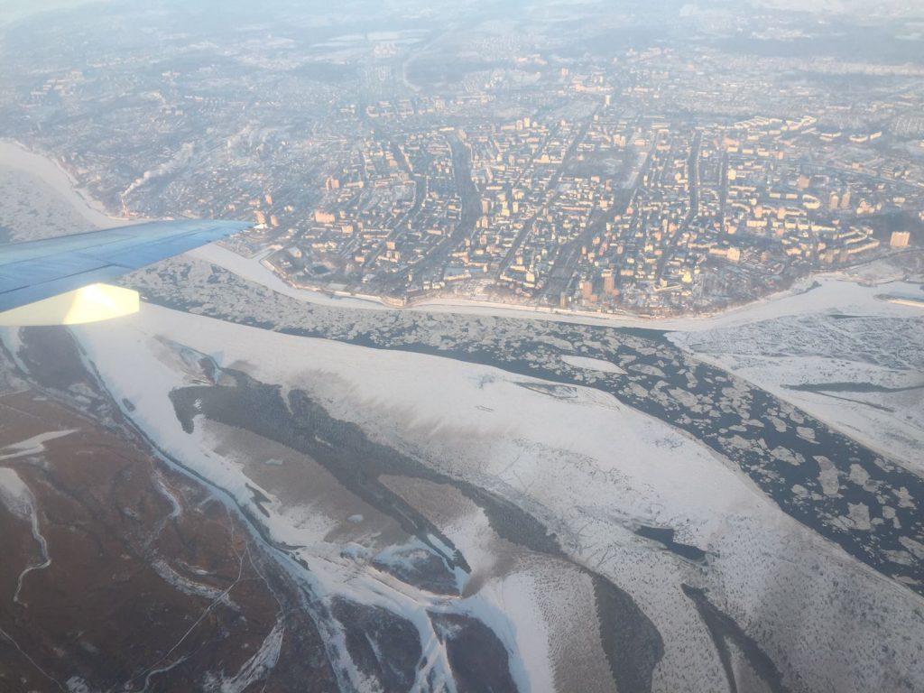 Habarovskin keskusta ja Amur-joki ilmasta